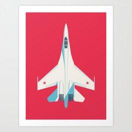 Su-27 Flanker Fighter Jet Aircraft - Crimson Art Print