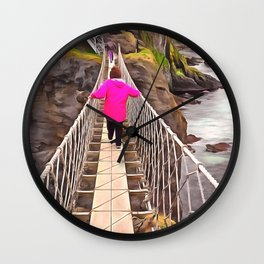 Carrick-a-rede rope bridge, Ireland. (Painting) Wall Clock