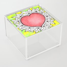 Watercolor Doodle Art | Heart Acrylic Box