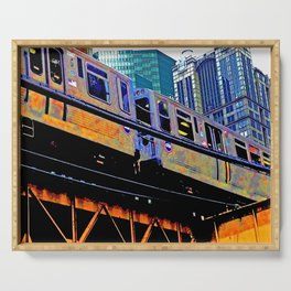 Chicago 'L' in multi color: Chicago photography - Chicago Elevated train Serving Tray
