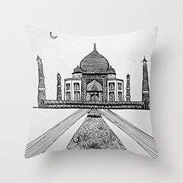 Taj Mahal (Cartoon) Throw Pillow