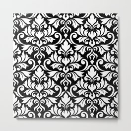Flourish Damask Big Ptn White on Black Metal Print