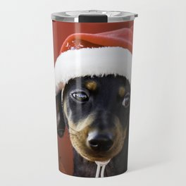 Christmas Dachshund Puppy Wearing a Santa Hat with Poinsettias Travel Mug