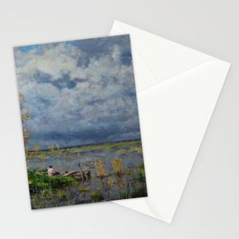 Boat amid the lilies (Pêche_aux_anguilles) by Isidore Verheyden Stationery Cards