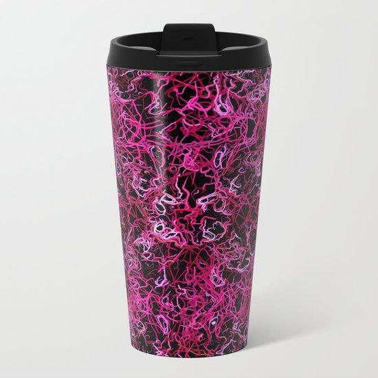 Hot Pink and Black Electric Lines Metal Travel Mug