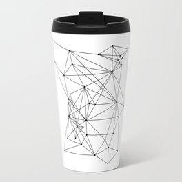 White Geometric Dots and Lines Travel Mug