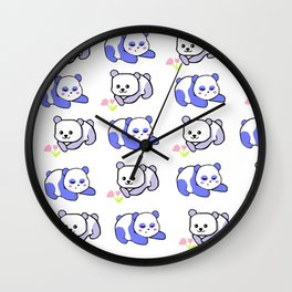 Sleepy panda and flower panda Wall Clock