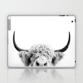 Peeking Cow BW Laptop & iPad Skin
