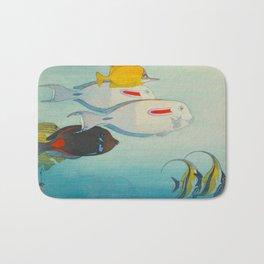 Fishes of Honolulu Vintage Japanese Woodblock Print Tropical Colorful Sea Life Hiroshi Yoshida Bath Mat