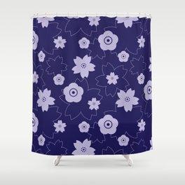 Sakura blossom - midnight blue Shower Curtain