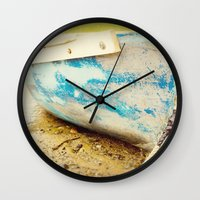 cape cod Wall Clocks featuring cape cod blue by Finch & Maple