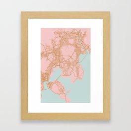 Busan map, South Korea Framed Art Print