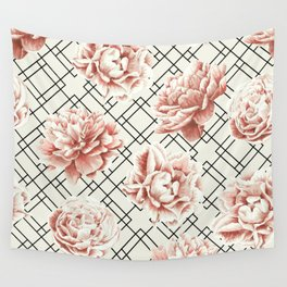 Simply Mod Diamond Roses in Cream and Black Wall Tapestry