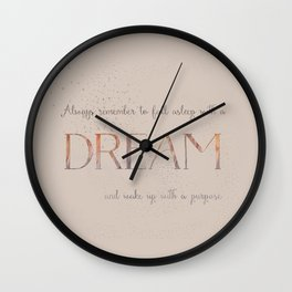 Always remember to fall asleep with a dream - Gold Vintage Glitter Typography Wall Clock