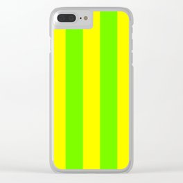 Bright Neon Green and Yellow Vertical Cabana Tent Stripes Clear iPhone Case