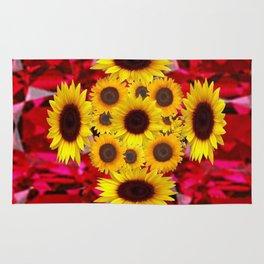 JULY RUBY RED GEMSTONES & YELLOW FLOWERS Rug