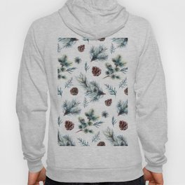 Christmas pattern, pinecones & meddle branches pattern Hoody