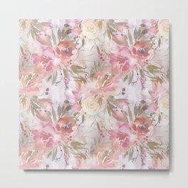 Modern blush pink ivory botanical watercolor floral Metal Print