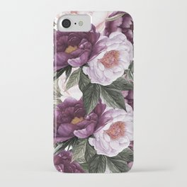 Purple Plum Pink Watercolor Peonies and Greenery iPhone Case
