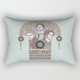 Carry On My Wayward Son (Castiel, Sam and Dean Winchester) Rectangular Pillow