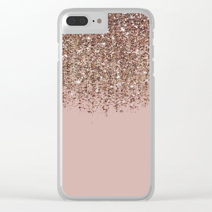 Blush Pink Rose Gold Bronze Cascading Glitter Clear iPhone Case