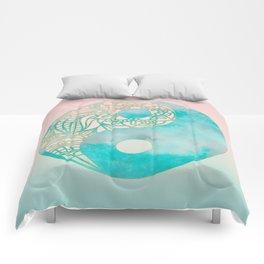 Yin Yang Watercolor Esoteric Symbol teal and soft pink #yinyang Comforters