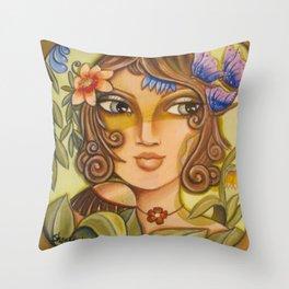 Mona Lisa's Butterflys Throw Pillow