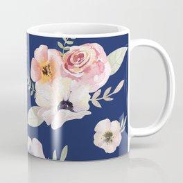 Floral I - Dark New Navy Coffee Mug