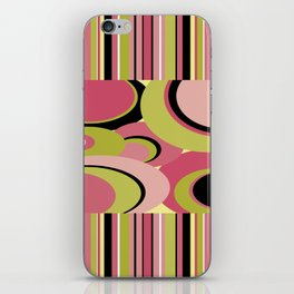 Contemporary Circles and Stripes Pattern in Hot Pink Neon Green and Black iPhone Skin