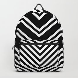 Back and White Lines Minimal Pattern No.1 Backpack