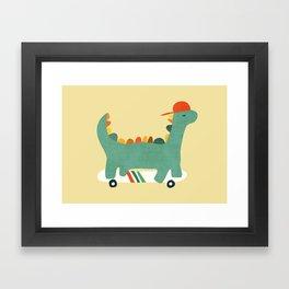 Dinosaur on retro skateboard Framed Art Print