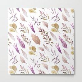 Pink lavender brown watercolor hand painted autumn leaves Metal Print