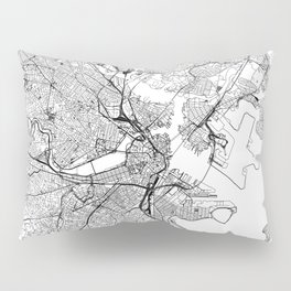 Boston White Map Pillow Sham