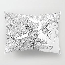 Boston White Map Pillow Sham