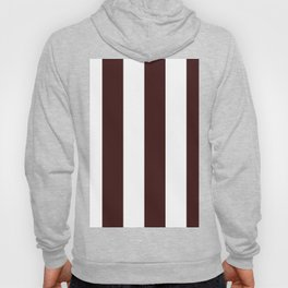 Wide Vertical Stripes - White and Dark Sienna Brown Hoody