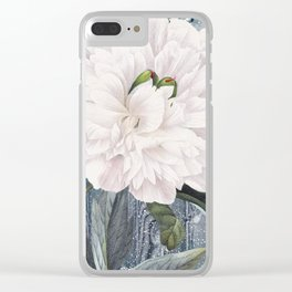 White Peony On Winter Grey Fence Clear iPhone Case
