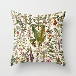 Adolphe Millot - Plantes Medicinales B - French vintage poster Throw Pillow