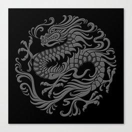 Traditional Gray and Black Chinese Dragon Circle Canvas Print