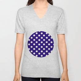 Polka Dot Party in Blue and White Unisex V-Neck