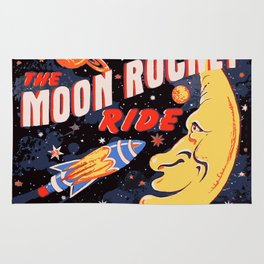 Rocket Moon Ride (vintage) Rug