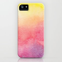 Hand painted abstract violet pink yellow watercolor paint iPhone Case