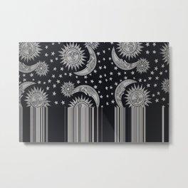Sun Moon Stars Drip Metal Print