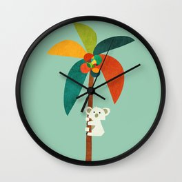 Koala on Coconut Tree Wall Clock