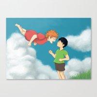 ponyo Canvas Prints featuring Hinata - Ponyo by betanoiz