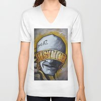 justice V-neck T-shirts featuring Justice by Tatstom48
