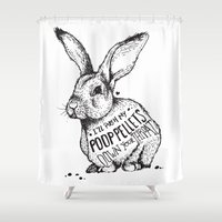poop Shower Curtains featuring Poop Rabbit by Nat Osorio