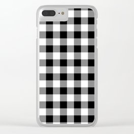 Jumbo Milkweed White and Black Rustic Cowboy Cabin Buffalo Check Clear iPhone Case