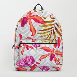 Bold & Bright Colored Tropical Flowers on Silver Trellis Backpack