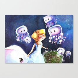 Jellyfish in the sky Canvas Print