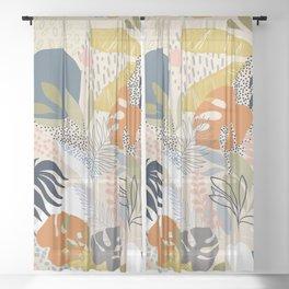 Tropical Foliage Pattern 1 - Retro Boho Sheer Curtain
